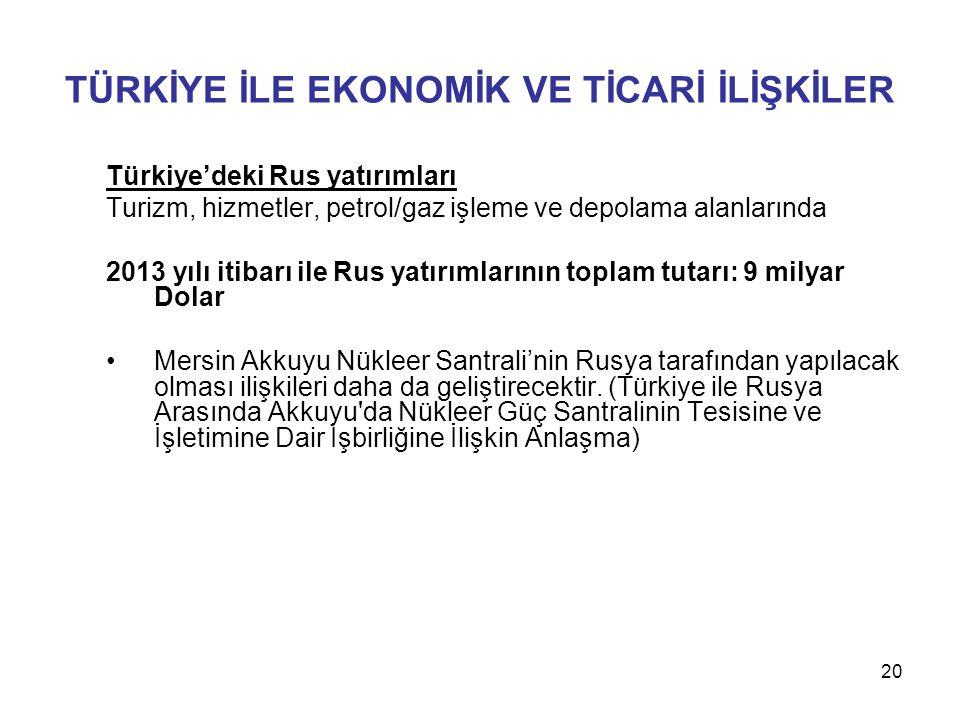Türkiye'deki Rus yatırımları Turizm, hizmetler, petrol/gaz işleme ve depolama alanlarında 2013 yılı itibarı ile Rus yatırımlarının toplam tutarı: 9 mi