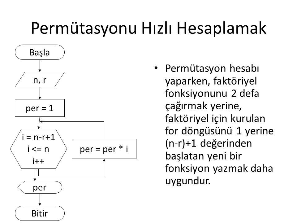 Permütasyonu Hızlı Hesaplamak Permütasyon hesabı yaparken, faktöriyel fonksiyonunu 2 defa çağırmak yerine, faktöriyel için kurulan for döngüsünü 1 yer
