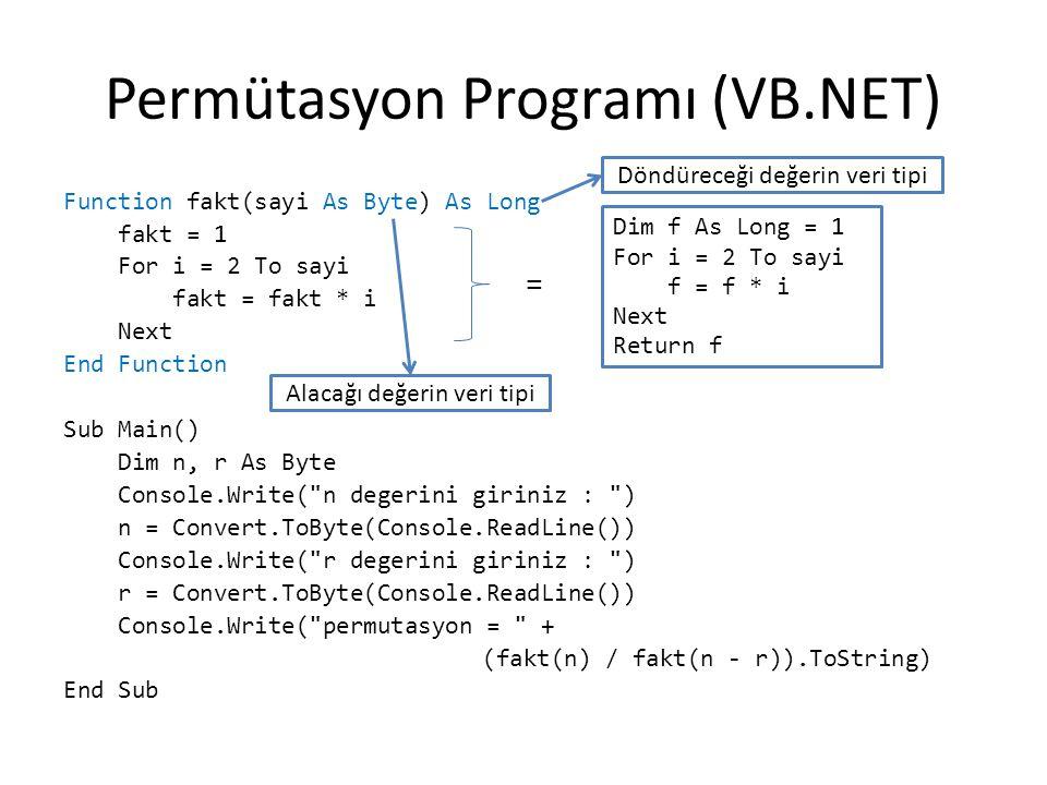 Permütasyon Programı (VB.NET) Function fakt(sayi As Byte) As Long fakt = 1 For i = 2 To sayi fakt = fakt * i Next End Function Sub Main() Dim n, r As