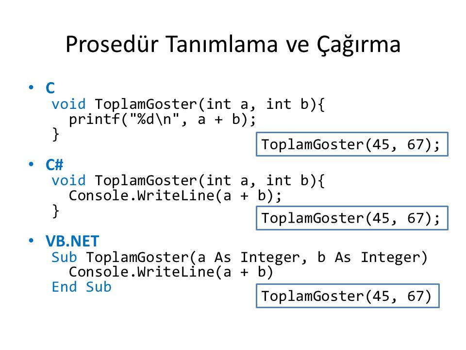 Prosedür Tanımlama ve Çağırma C void ToplamGoster(int a, int b){ printf(