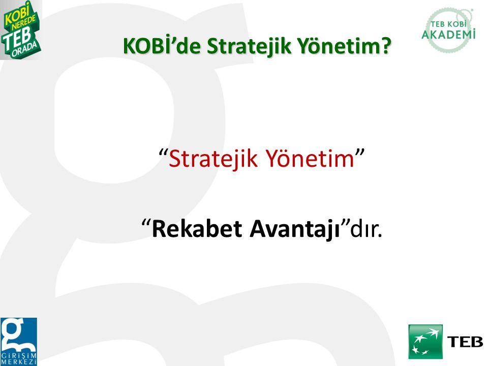 Stratejik Yönetim Rekabet Avantajı dır. KOBİ'de Stratejik Yönetim?
