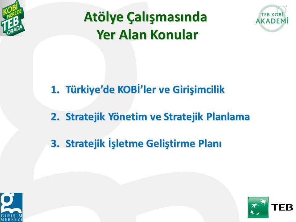 Atölye Çalışmasında Yer Alan Konular 1.Türkiye'de KOBİ'ler ve Girişimcilik 2.Stratejik Yönetim ve Stratejik Planlama 3.Stratejik İşletme Geliştirme Planı