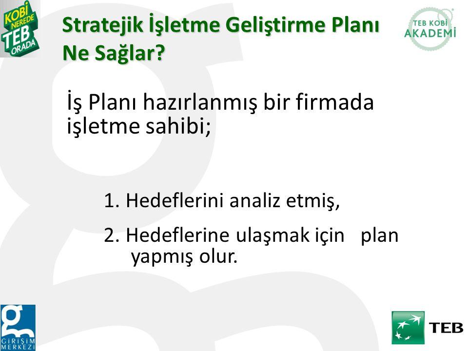 Stratejik İşletme Geliştirme Planı Ne Sağlar.İş Planı hazırlanmış bir firmada işletme sahibi; 1.