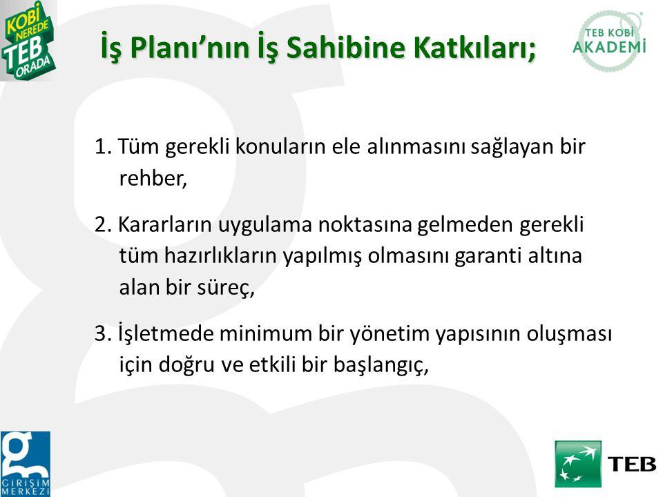 İş Planı'nın İş Sahibine Katkıları; 1.Tüm gerekli konuların ele alınmasını sağlayan bir rehber, 2.