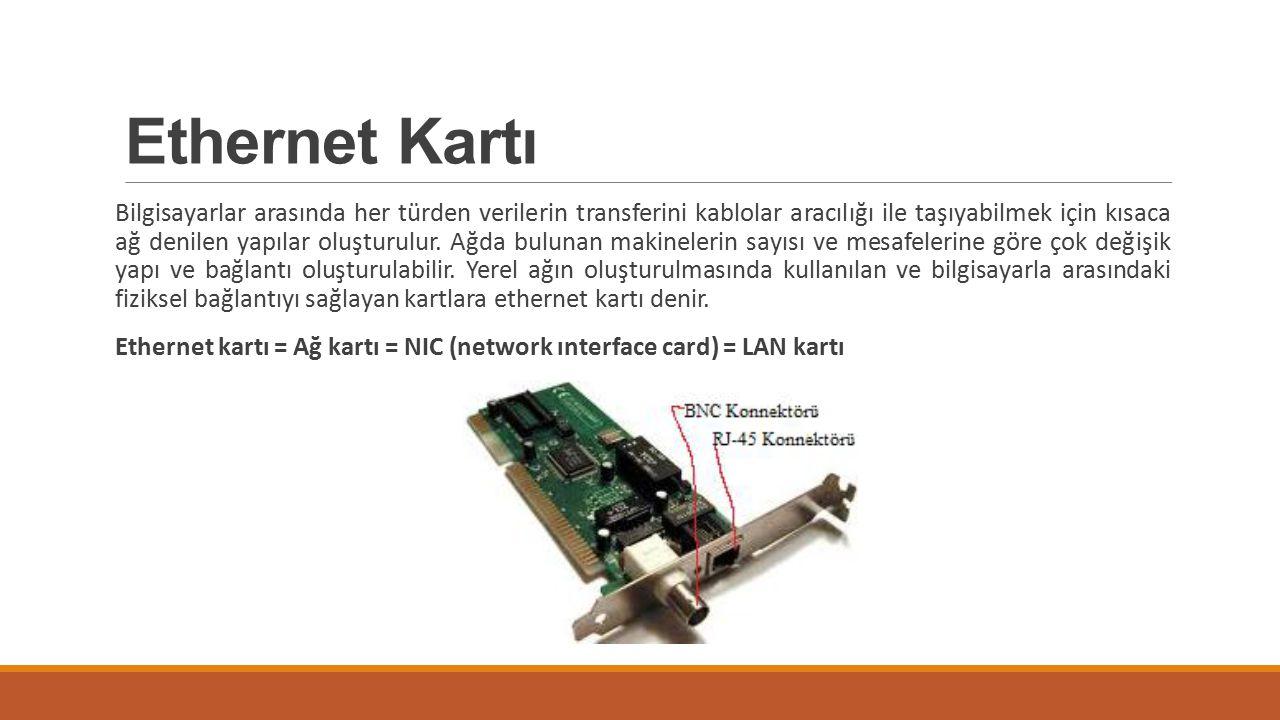 Ethernet Kartı Bilgisayarlar arasında her türden verilerin transferini kablolar aracılığı ile taşıyabilmek için kısaca ağ denilen yapılar oluşturulur.