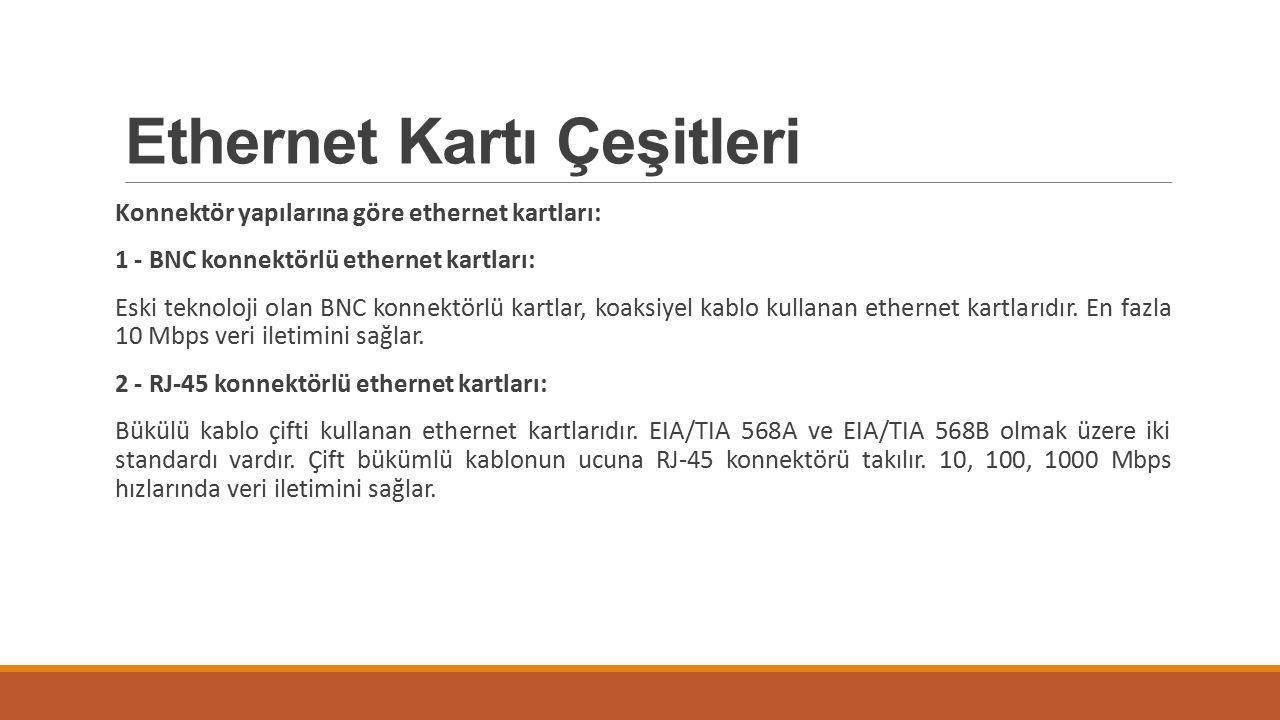 Ethernet Kartı Çeşitleri Konnektör yapılarına göre ethernet kartları: 1 - BNC konnektörlü ethernet kartları: Eski teknoloji olan BNC konnektörlü kartl