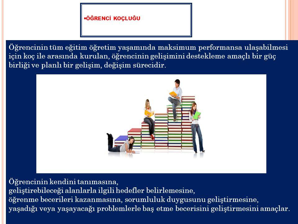  ÖĞRENCİ KOÇLUĞU Öğrencinin tüm eğitim öğretim yaşamında maksimum performansa ulaşabilmesi için koç ile arasında kurulan, öğrencinin gelişimini destekleme amaçlı bir güç birliği ve planlı bir gelişim, değişim sürecidir.
