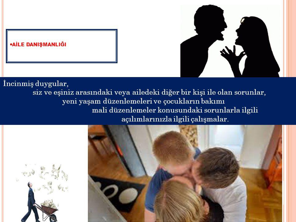  AİLE DANIŞMANLIĞI İncinmiş duygular, siz ve eşiniz arasındaki veya ailedeki diğer bir kişi ile olan sorunlar, yeni yaşam düzenlemeleri ve çocukların bakımı mali düzenlemeler konusundaki sorunlarla ilgili açılımlarınızla ilgili çalışmalar.