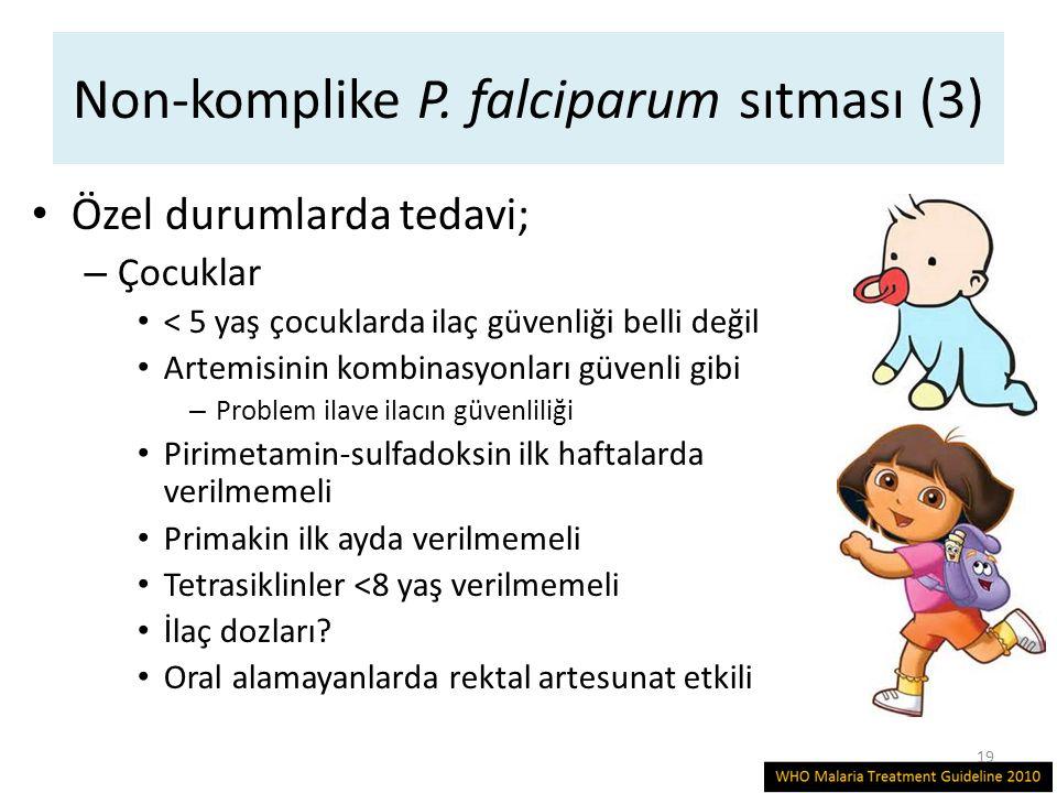 Non-komplike P. falciparum sıtması (3) Özel durumlarda tedavi; – Çocuklar < 5 yaş çocuklarda ilaç güvenliği belli değil Artemisinin kombinasyonları gü