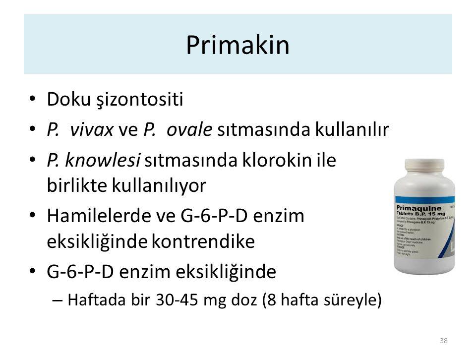 Primakin Doku şizontositi P. vivax ve P. ovale sıtmasında kullanılır P. knowlesi sıtmasında klorokin ile birlikte kullanılıyor Hamilelerde ve G-6-P-D