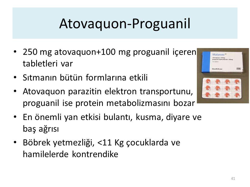 Atovaquon-Proguanil 250 mg atovaquon+100 mg proguanil içeren tabletleri var Sıtmanın bütün formlarına etkili Atovaquon parazitin elektron transportunu