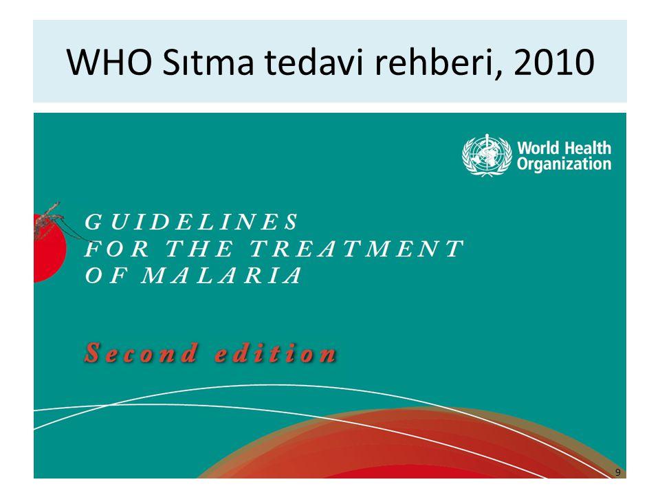 WHO Sıtma tedavi rehberi, 2010 9