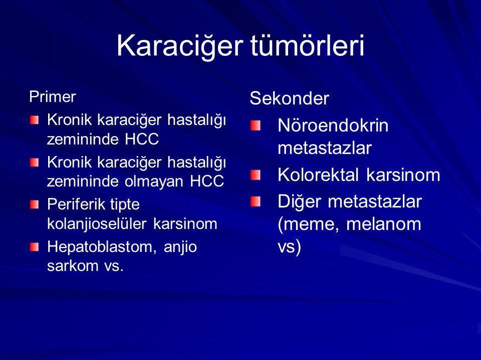 Karaciğer tümörleri Kronik karaciğer hastalığı olmayan hastalarda primer karaciğer tümörlerinde standart tedavi cerrahi rezeksiyondur (%5-10) Kronik karaciğer hastalığı zemininde HSK'da en iyi sonuç veren tedavi Tx dır (%1-2) KRK met ve NET met dışında sekonder karaciğer tümörlerinde standart tedavi kemoterapidir KRK ve NET met.lerde rezeksiyon, ablasyon (debulking) işe yaramakta Bu sunuda kronik kc.