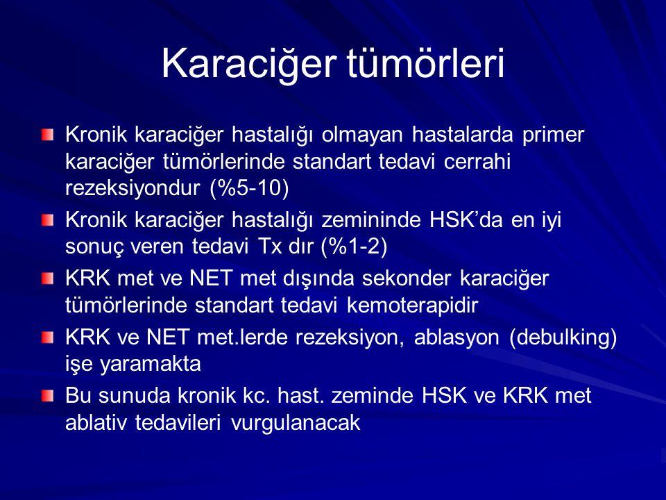 Karaciğer tümörleri Kronik karaciğer hastalığı olmayan hastalarda primer karaciğer tümörlerinde standart tedavi cerrahi rezeksiyondur (%5-10) Kronik k