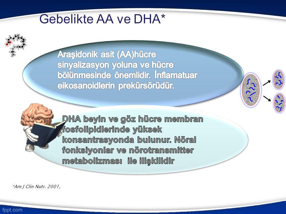 Gebelikte AA ve DHA* *Am J Clin Nutr. 2001,