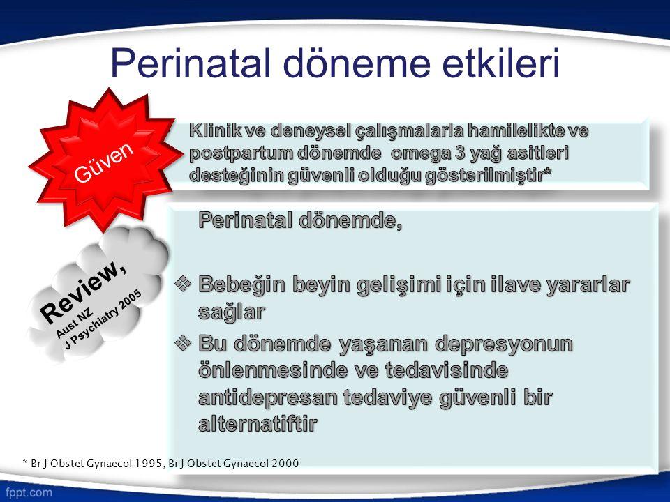 Perinatal döneme etkileri Aust NZ J Psychiatry 2005 Güven Review, Aust NZ J Psychiatry 2005 Review, Aust NZ J Psychiatry 2005 * Br J Obstet Gynaecol 1