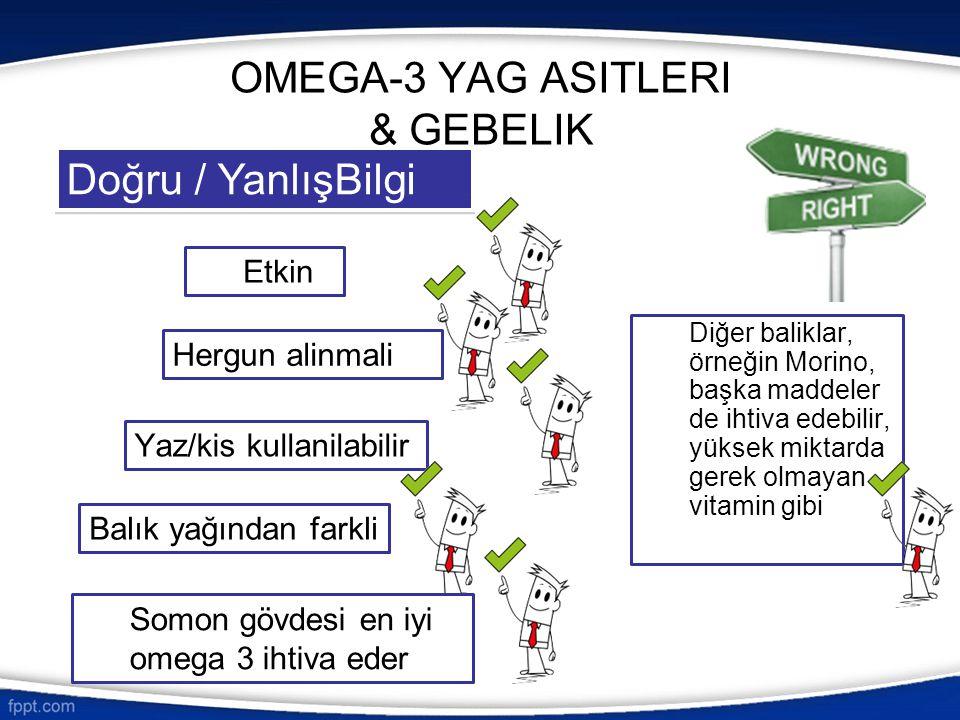 OMEGA-3 YAG ASITLERI & GEBELIK Diğer baliklar, örneğin Morino, başka maddeler de ihtiva edebilir, yüksek miktarda gerek olmayan vitamin gibi Doğru / Y