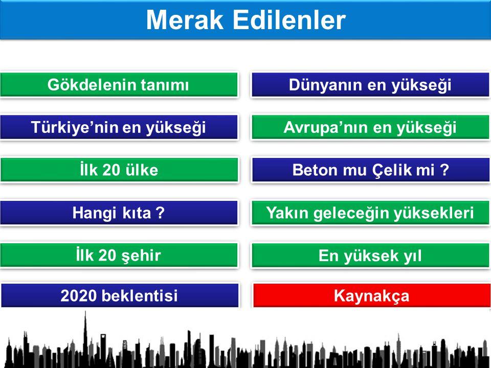 Gökdelenin tanımı Dünyanın en yükseği Türkiye'nin en yükseği Avrupa'nın en yükseği İlk 20 ülke Beton mu Çelik mi .