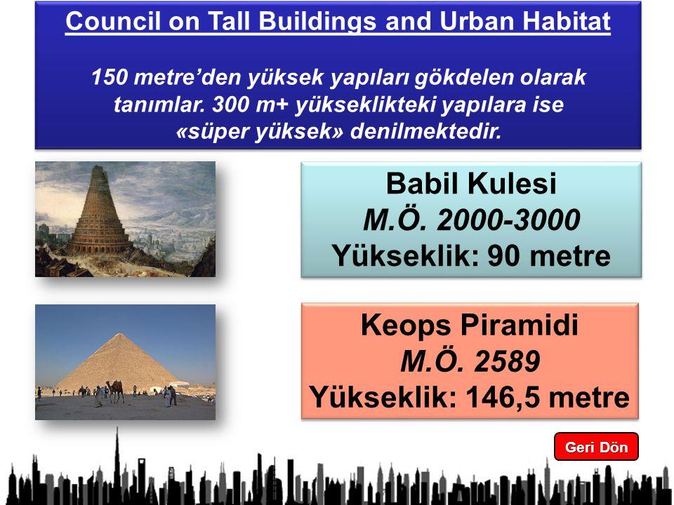 3 Council on Tall Buildings and Urban Habitat 150 metre'den yüksek yapıları gökdelen olarak tanımlar.
