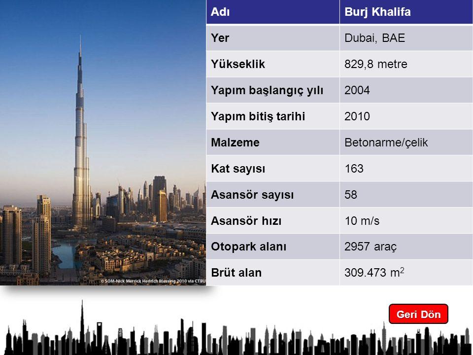 4 Geri Dön Geri Dön AdıBurj Khalifa YerDubai, BAE Yükseklik829,8 metre Yapım başlangıç yılı2004 Yapım bitiş tarihi2010 MalzemeBetonarme/çelik Kat sayısı163 Asansör sayısı58 Asansör hızı10 m/s Otopark alanı2957 araç Brüt alan309.473 m 2