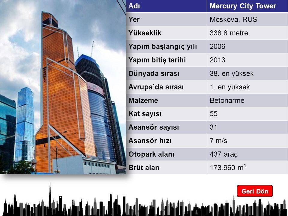 6 Geri Dön Geri Dön AdıMercury City Tower YerMoskova, RUS Yükseklik338.8 metre Yapım başlangıç yılı2006 Yapım bitiş tarihi2013 Dünyada sırası38.