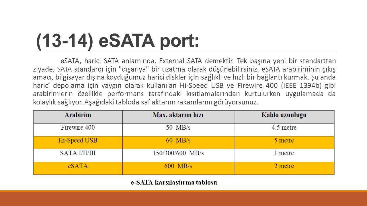 (13-14) eSATA port: eSATA, harici SATA anlamında, External SATA demektir. Tek başına yeni bir standarttan ziyade, SATA standardı için