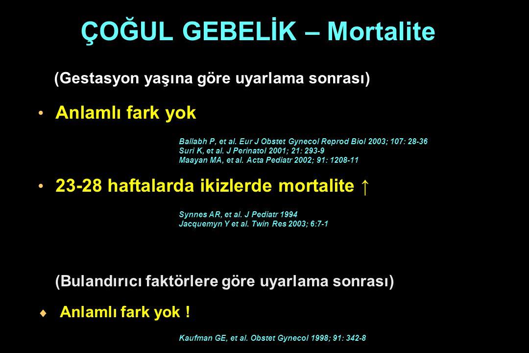 ÇOĞUL GEBELİK – Mortalite (Gestasyon yaşına göre uyarlama sonrası) Anlamlı fark yok Ballabh P, et al. Eur J Obstet Gynecol Reprod Biol 2003; 107: 28-3