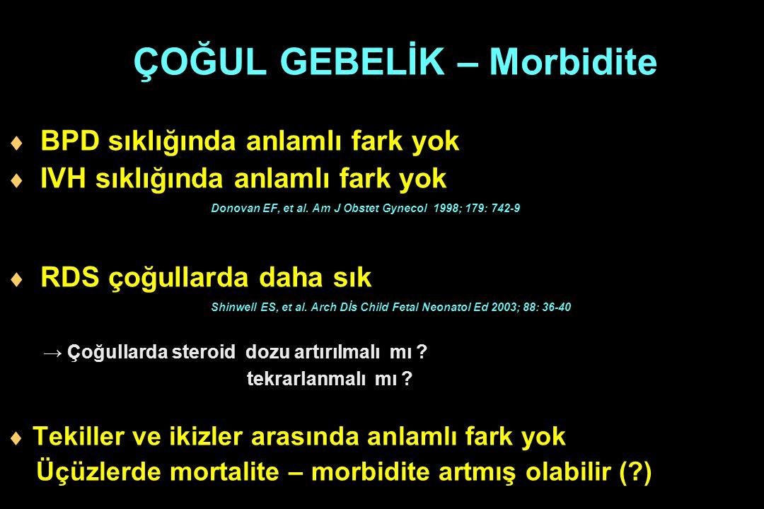 ÇOĞUL GEBELİK – Morbidite  BPD sıklığında anlamlı fark yok  IVH sıklığında anlamlı fark yok Donovan EF, et al. Am J Obstet Gynecol 1998; 179: 742-9