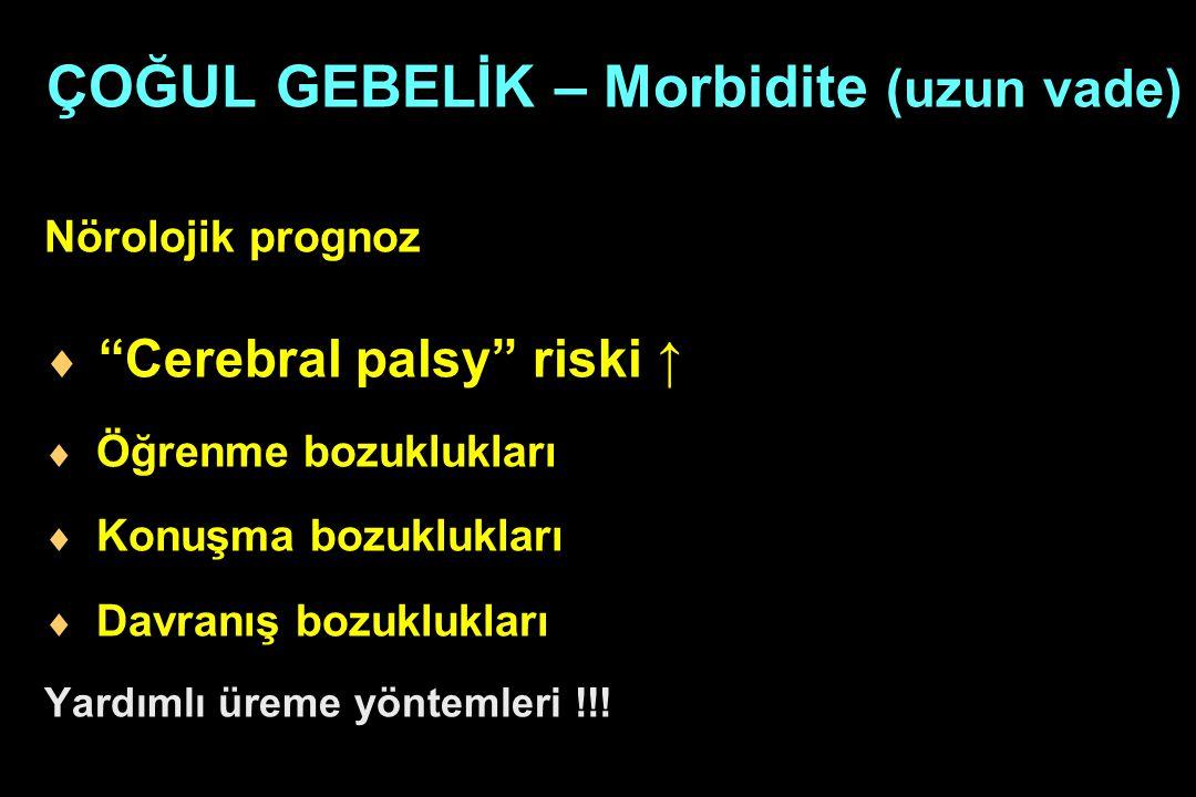 """ÇOĞUL GEBELİK – Morbidite (uzun vade) Nörolojik prognoz  """"Cerebral palsy"""" riski ↑  Öğrenme bozuklukları  Konuşma bozuklukları  Davranış bozuklukla"""