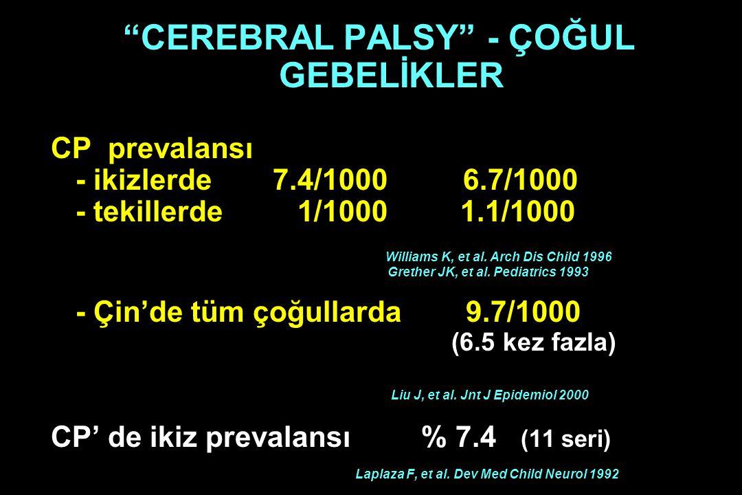 """CEREBRAL PALSY"" - ÇOĞUL GEBELİKLER CP prevalansı - ikizlerde 7.4/1000 6.7/1000 - tekillerde 1/1000 1.1/1000 Williams K, et al. Arch Dis Child 1996 Gr"