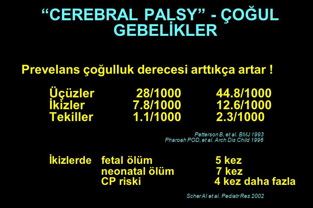 """""""CEREBRAL PALSY"""" - ÇOĞUL GEBELİKLER Prevelans çoğulluk derecesi arttıkça artar ! Üçüzler 28/100044.8/1000 İkizler7.8/100012.6/1000 Tekiller1.1/10002.3"""