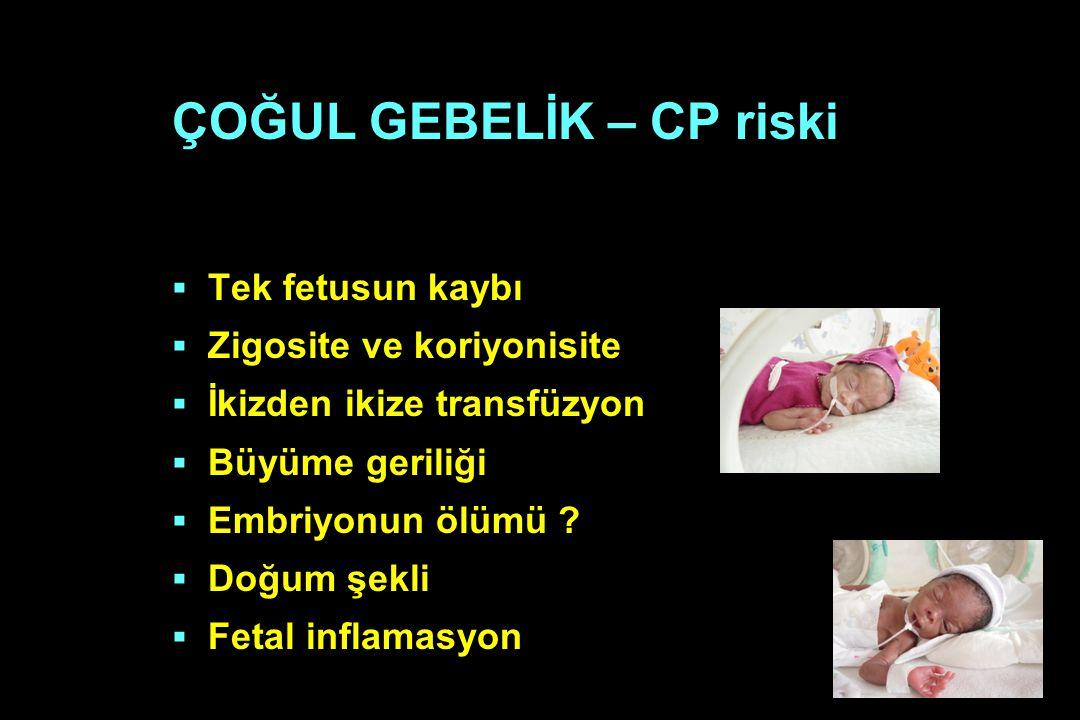 ÇOĞUL GEBELİK – CP riski  Tek fetusun kaybı  Zigosite ve koriyonisite  İkizden ikize transfüzyon  Büyüme geriliği  Embriyonun ölümü ?  Doğum şek