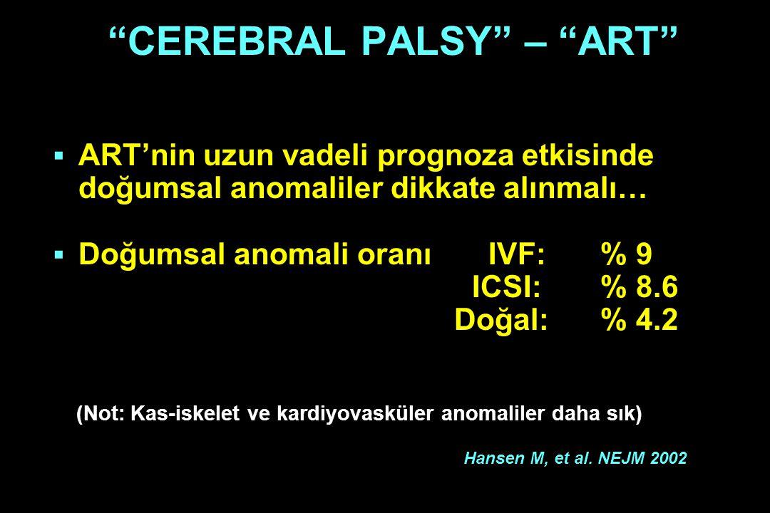 """""""CEREBRAL PALSY"""" – """"ART""""  ART'nin uzun vadeli prognoza etkisinde doğumsal anomaliler dikkate alınmalı…  Doğumsal anomali oranı IVF:% 9 ICSI: % 8.6 D"""