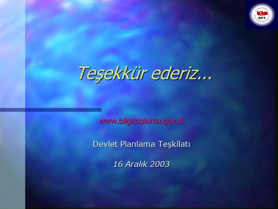 Teşekkür ederiz... www.bilgitoplumu.gov.tr Devlet Planlama Teşkilatı 16 Aralık 2003