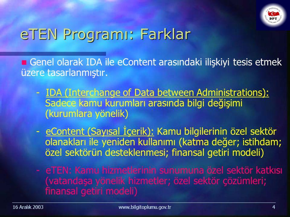 16 Aralık 2003www.bilgitoplumu.gov.tr4 eTEN Programı: Farklar Genel olarak IDA ile eContent arasındaki ilişkiyi tesis etmek üzere tasarlanmıştır.