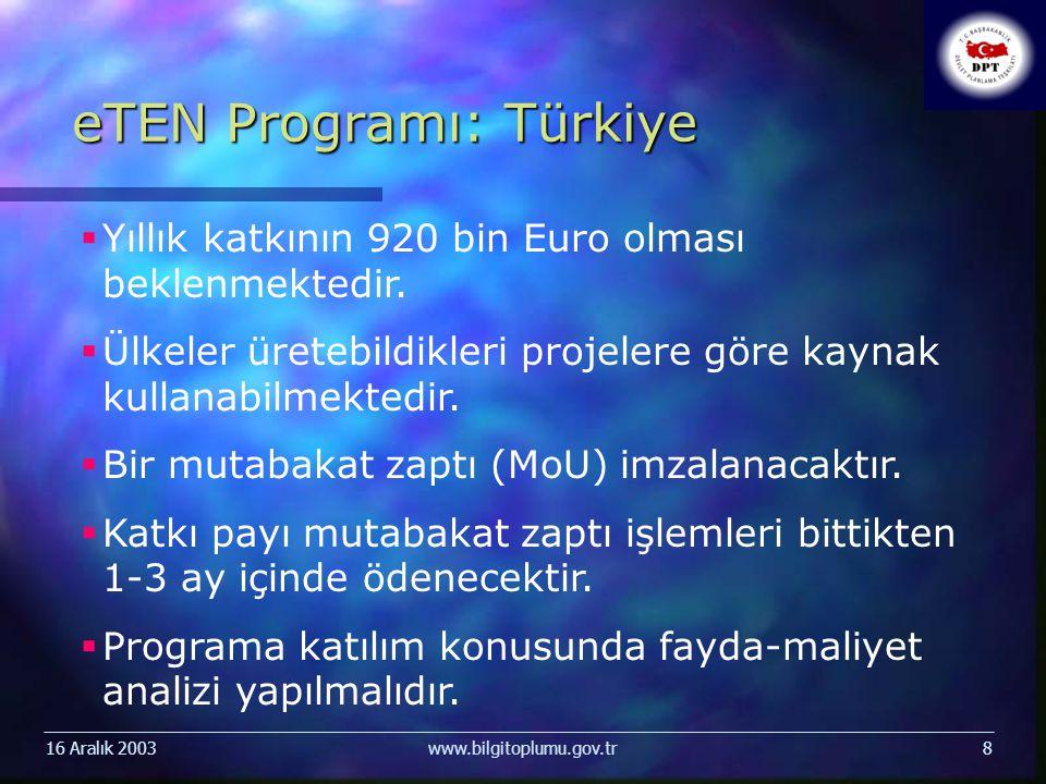 16 Aralık 2003www.bilgitoplumu.gov.tr8 eTEN Programı: Türkiye  Yıllık katkının 920 bin Euro olması beklenmektedir.  Ülkeler üretebildikleri projeler