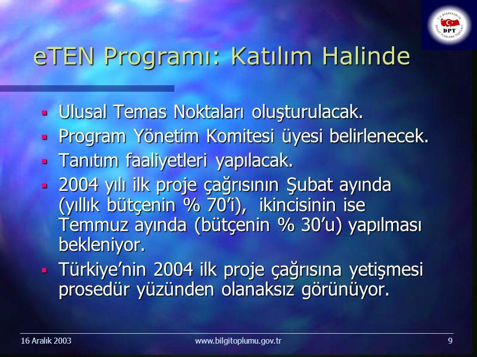 16 Aralık 2003www.bilgitoplumu.gov.tr9 eTEN Programı: Katılım Halinde  Ulusal Temas Noktaları oluşturulacak.  Program Yönetim Komitesi üyesi belirle