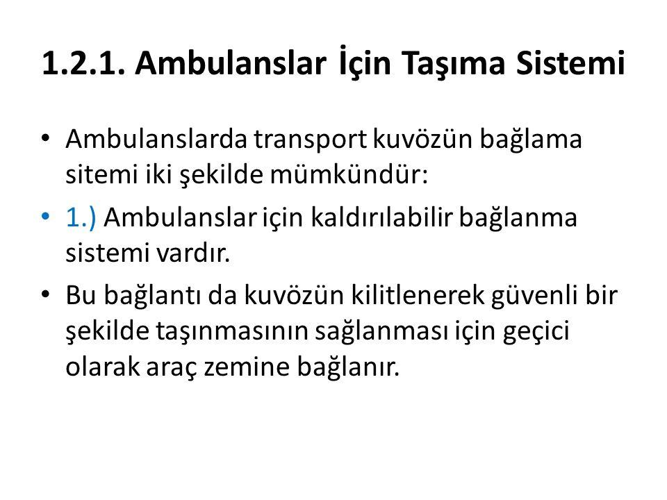 1.2.1. Ambulanslar İçin Taşıma Sistemi Ambulanslarda transport kuvözün bağlama sitemi iki şekilde mümkündür: 1.) Ambulanslar için kaldırılabilir bağla