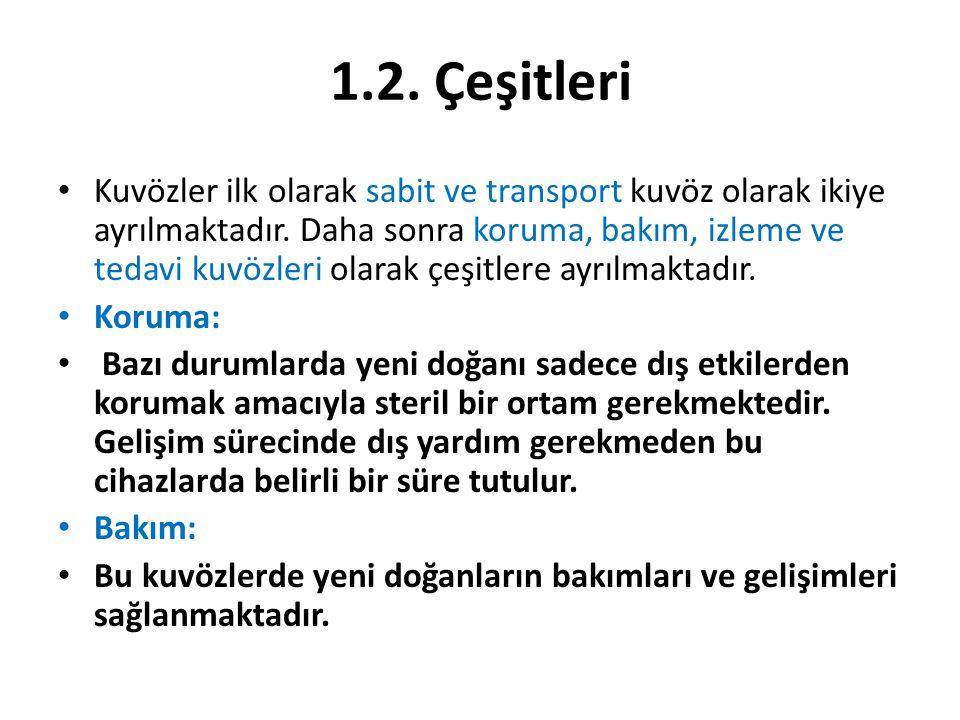 1.2.Çeşitleri Kuvözler ilk olarak sabit ve transport kuvöz olarak ikiye ayrılmaktadır.