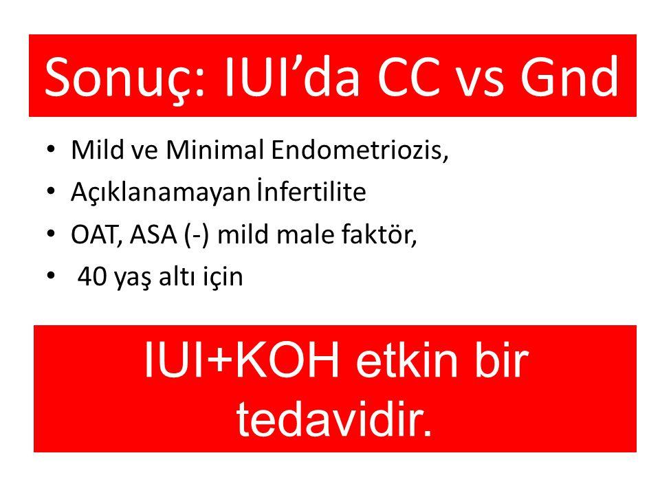 Sonuç: IUI'da CC vs Gnd Mild ve Minimal Endometriozis, Açıklanamayan İnfertilite OAT, ASA (-) mild male faktör, 40 yaş altı için IUI+KOH etkin bir ted