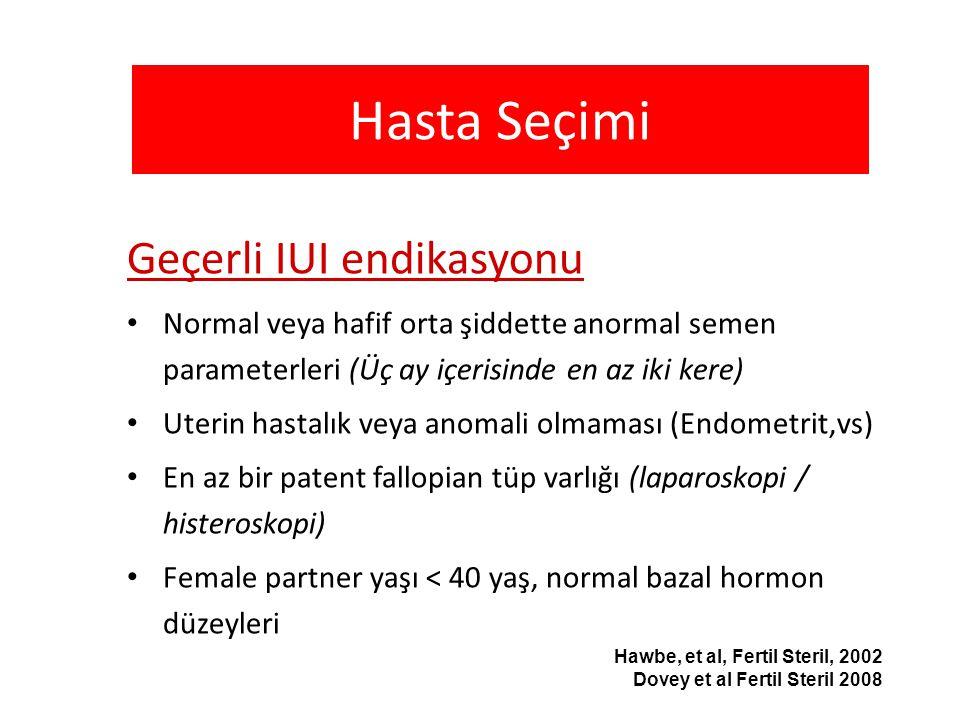 Hasta Seçimi Geçerli IUI endikasyonu Normal veya hafif orta şiddette anormal semen parameterleri (Üç ay içerisinde en az iki kere) Uterin hastalık vey