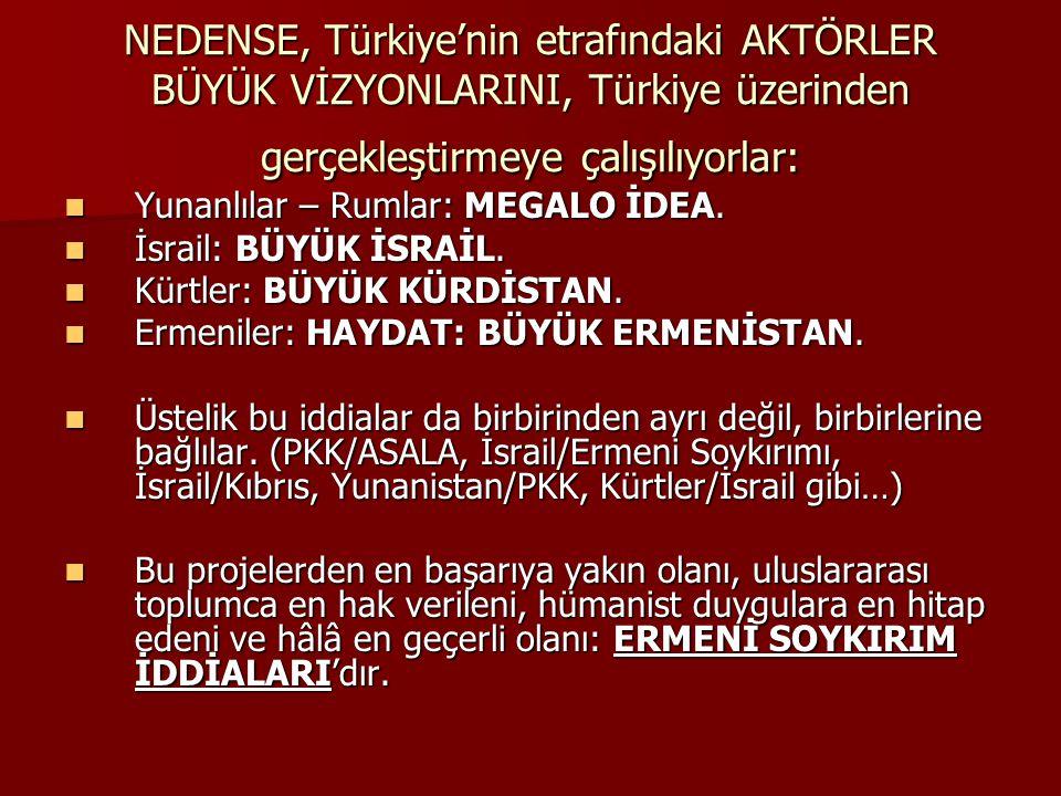 NEDENSE, Türkiye'nin etrafındaki AKTÖRLER BÜYÜK VİZYONLARINI, Türkiye üzerinden gerçekleştirmeye çalışılıyorlar: Yunanlılar – Rumlar: MEGALO İDEA. Yun