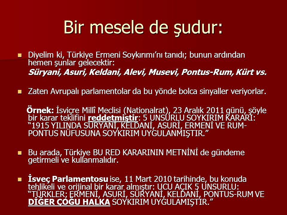 Bir mesele de şudur: Diyelim ki, Türkiye Ermeni Soykırımı'nı tanıdı; bunun ardından hemen şunlar gelecektir: Diyelim ki, Türkiye Ermeni Soykırımı'nı tanıdı; bunun ardından hemen şunlar gelecektir: Süryani, Asuri, Keldani, Alevi, Musevi, Pontus-Rum, Kürt vs.