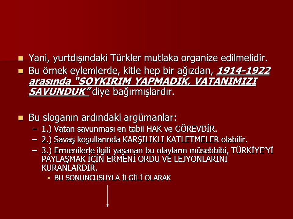 Yani, yurtdışındaki Türkler mutlaka organize edilmelidir. Yani, yurtdışındaki Türkler mutlaka organize edilmelidir. Bu örnek eylemlerde, kitle hep bir