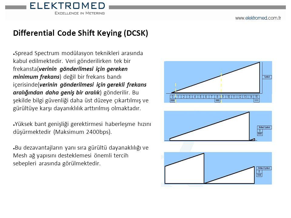 Differential Code Shift Keying (DCSK) ● Spread Spectrum modülasyon teknikleri arasında kabul edilmektedir. Veri gönderilirken tek bir frekansta(verini