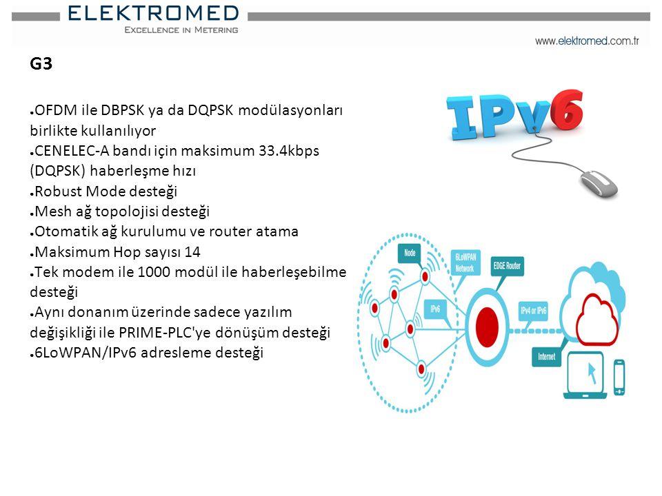 G3 ● OFDM ile DBPSK ya da DQPSK modülasyonları birlikte kullanılıyor ● CENELEC-A bandı için maksimum 33.4kbps (DQPSK) haberleşme hızı ● Robust Mode de