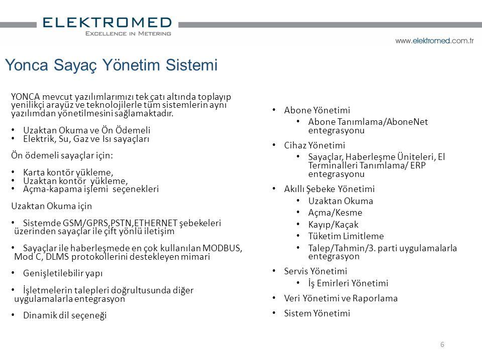 Abone Yönetimi Abone Tanımlama/AboneNet entegrasyonu Cihaz Yönetimi Sayaçlar, Haberleşme Üniteleri, El Terminalleri Tanımlama/ ERP entegrasyonu Akıllı