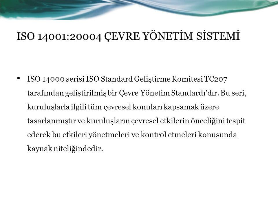 ISO 14001:20004 ÇEVRE YÖNETİM SİSTEMİ ISO 14000 serisi ISO Standard Geliştirme Komitesi TC207 tarafından geliştirilmiş bir Çevre Yönetim Standardı'dır
