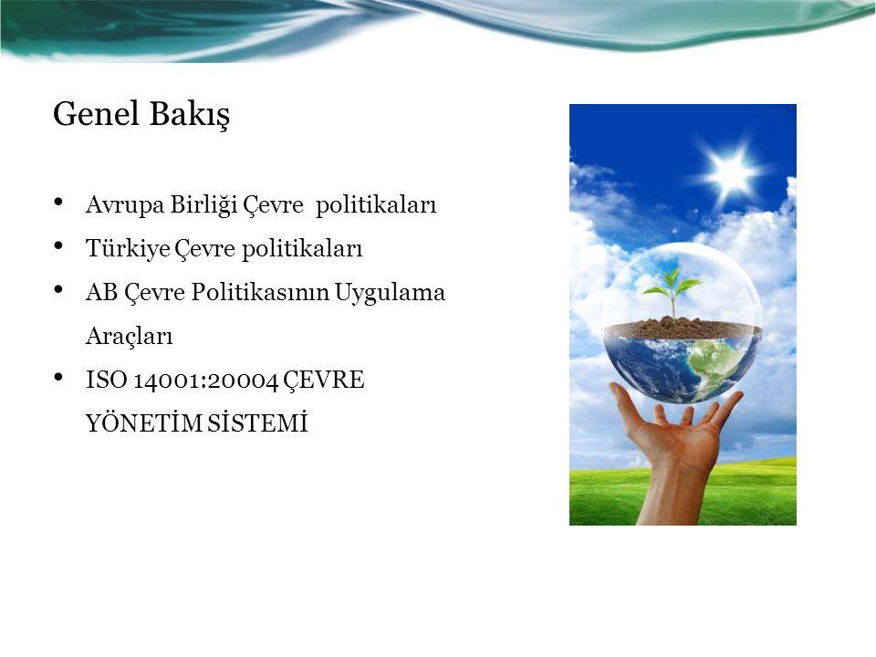 Genel Bakış Avrupa Birliği Çevre politikaları Türkiye Çevre politikaları AB Çevre Politikasının Uygulama Araçları ISO 14001:20004 ÇEVRE YÖNETİM SİSTEM