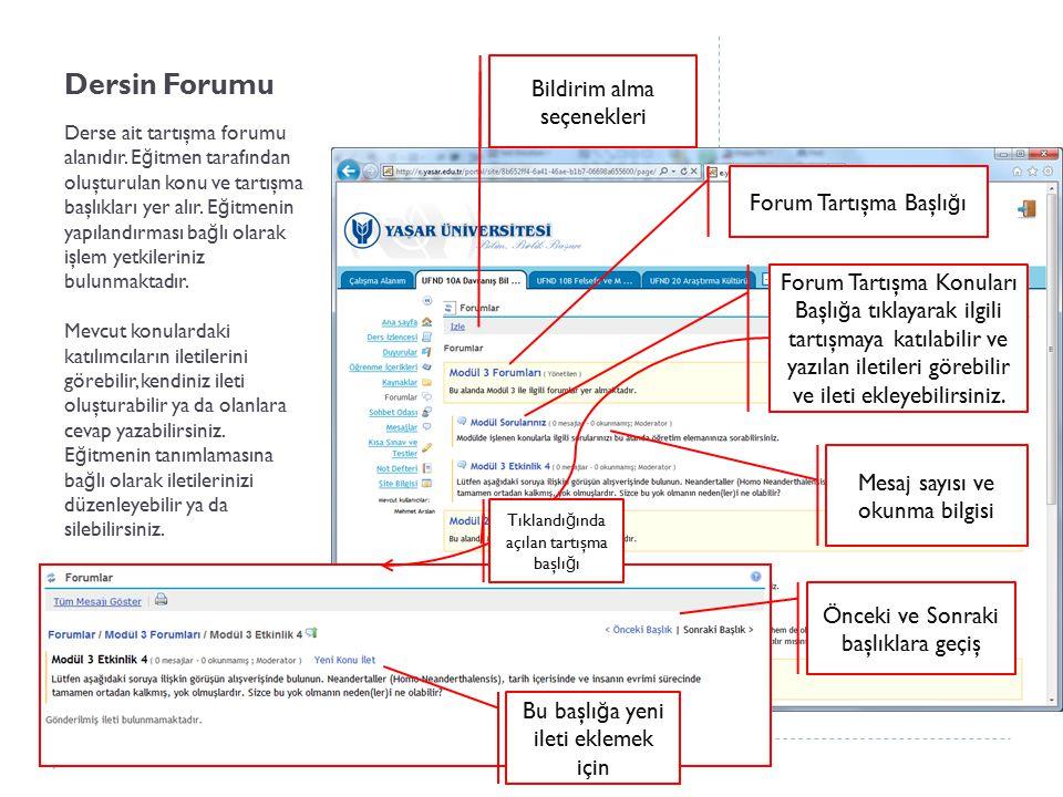 Dersin Forumu Derse ait tartışma forumu alanıdır. E ğ itmen tarafından oluşturulan konu ve tartışma başlıkları yer alır. E ğ itmenin yapılandırması ba
